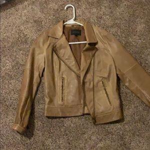 Blu Pepper Tan Leather Moto Jacket
